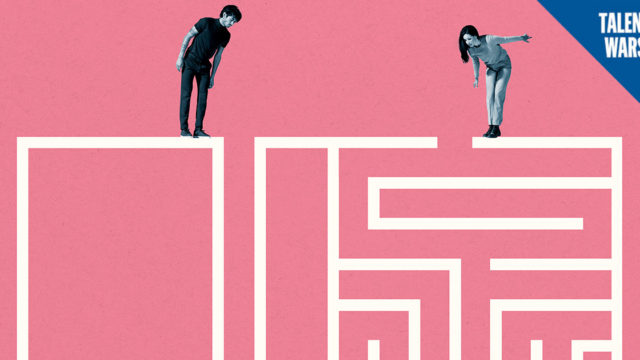illustration of people standing on a maze and looking down