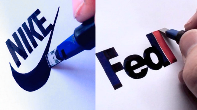 watch a calligrapher perfectly draw famous logos from scratch with