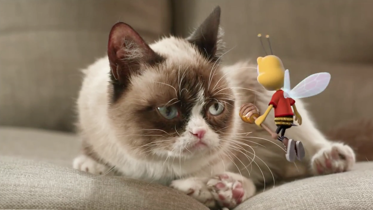 Image of: Tartar Sauce Unimpressed By Famous Face Pinterest Ad Of The Day Grumpy Cat Gets Stung By The Honey Nut Cheerios