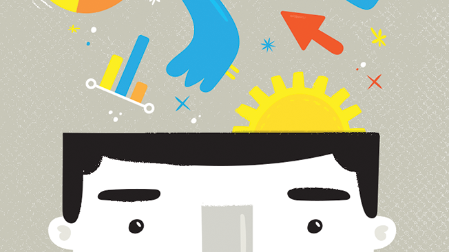 An illustrated man's head opening up with gears, graphs, charts, a Twitter bird, Facebook icon, arrows and other symbols.