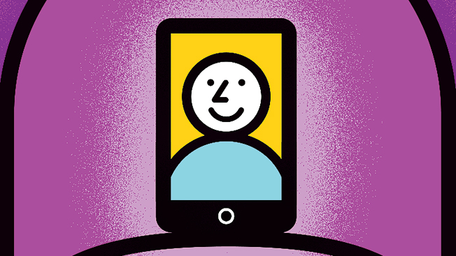 Illustrated purple face of a man and woman in the upper right and upper left. Center is a small iPhone with a smiling man's face.