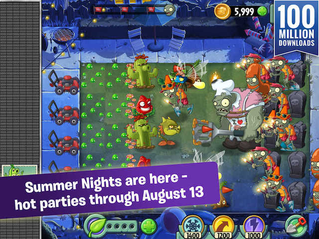 Plants vs. Zombies 2 Updated With 'Summer Nights' Event